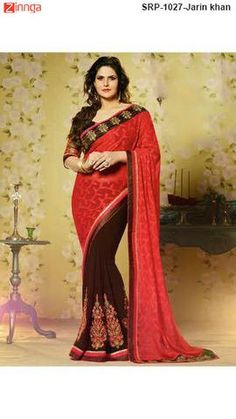 Red and Brown Color Jacquard and Brasso  Saree     #SAREES #saris #Fashion #Looking #Popular #Offers #Deals #Zinnga #Zinngafashion #Offers #Deals #Fashionable #Picoftheday #Photooftheday #Deals #New #Fashionable #Look #Looking