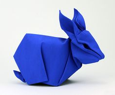Design by Akira Yoshizawa. Folded by F. Sanapanya. Canson mi-teintes paper. Size: 30 x 30 cm. Painted with International Klein Blue.