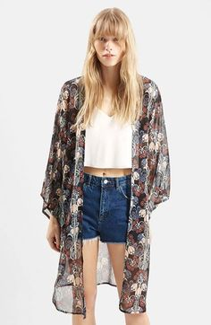 Topshop Sheer Floral Duster available at #Nordstrom