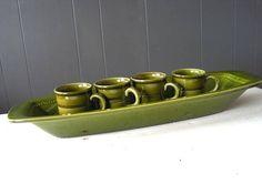 Vintage Höganäs Keramik Bread Dish Glossy Green Glazed