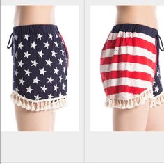American flag shorts Super cute patriotic shorts with fringe. All sizes available small-XLarge Shorts