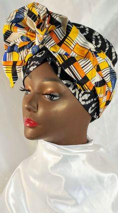 African Inspired Handmade Batik Global Head Wrap Turban Hair Scarf Hat for Women - Captivating Kinky Coily Hair - African Hairstyles, Scarf Hairstyles, African Head Wraps, Coily Hair, Scarf Hat, African Dress, Turban, Hats For Women, Kinky