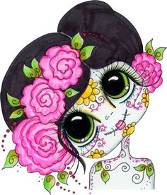 "Photo from album ""Sherri Baldy"" on Yandex. Sugar Skull Crafts, Sugar Skull Art, All Souls Day, Disney Princess Art, Mexico Art, Halloween Clipart, Forest Fairy, Anime Kawaii, Day Of The Dead"
