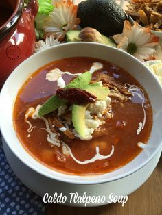 Caldo Tlalpeno Soup a comforting option for a cold day #SoyParaSoy #ad