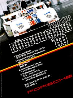 in 1980 Porsche followed their tradition to edit posters after important race victories even when the winner was a privately entered car like the Joest Porsche 908/3 Turbo driven by Rolf Stommelen and Jürgen Barth.
