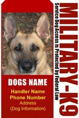 PERSONALIZE Dean & Tyler Miitary K9 #6 Dog ID Badge Bundle - 1 Handler's Custom ID Badge - 1 Dog's Custom ID Badge - Design#6 - Vertical. IMPORTANT! Please notice that the product won't be sent till all required details were received.. You will get 2 Tags. One for the owner and one for the dog. It will include your name, your address, your phone and your dog's name. You are welcome to include an... #ID_BADGES #Pet_Products