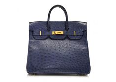 Hermes Navy Ostrich Leather HAC 32cm