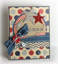 Patriotic card by Jen Tapler using Love Notes and American Hero from Verve Stamps.
