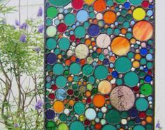 Handmade Stained Glass Art - Abstract Circle Collage