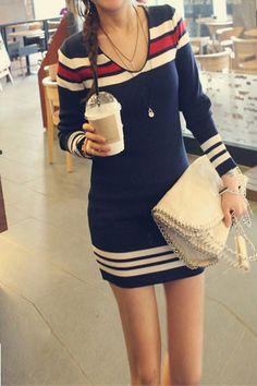 Casual V Neck Long Sleeve Blue Cotton Sheath Mini Dress