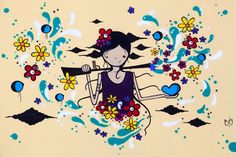 Painel produzido artista Borgê (Juliana Costa Borger) com o tema Mulheres e Conflitos Armados