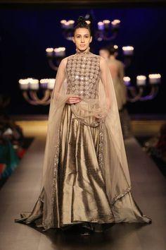 Manish Malhotra at India Couture Week 2014 - mirror work copper lehnga