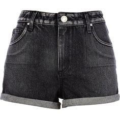 River Island Black acid wash denim shorts (27 BAM) ❤ liked on Polyvore featuring shorts, bottoms, pants, short, sale, pocket shorts, short shorts, acid wash denim shorts, acid wash shorts and zipper pocket shorts
