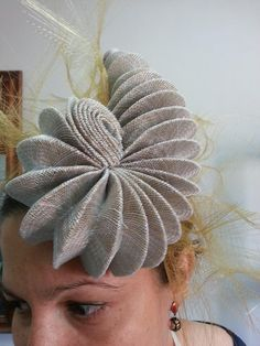 This is awesome! Sinamay with a pleat or many. #millinery #judithm #hats