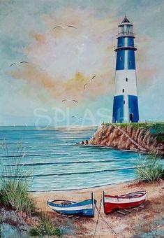 Faro marino y playa Lighthouse marine and beach # landscape # decorative # marina dibujo Watercolor Landscape, Landscape Paintings, Watercolor Paintings, 3 Piece Canvas Art, Canvas Canvas, Lighthouse Painting, Lighthouse Pictures, Beginner Painting, Cool Landscapes