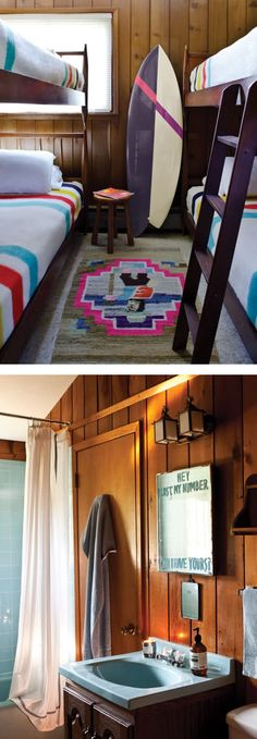 Retro Pendleton camp blankets plus surfer-chic art. Adore. Please invite me for a night this summer Chandelier Creative!