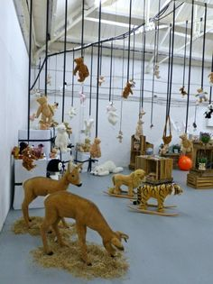 Great display of the Steiff toy collection showing the huge range including life size young deer.