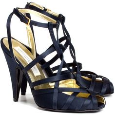 Stella McCartney Strappy satin sandal (4,905 MXN) ❤ liked on Polyvore featuring shoes, sandals, heels, blue, scarpe, women, strappy sandals, ankle strap sandals, blue satin shoes and blue sandals