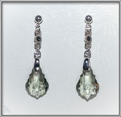 Swarovski black diamond crystal faceted drop with crystal accents