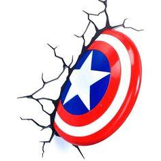 Captain America Shield Wall Light - By ThinkGeek for Collectibles Captain America Party, Captain America Shield, 3d Zeichenstift, Geeks, Halloween Yard Art, Hulk Party, Marvel Drawings, Avengers Birthday, Joker Art