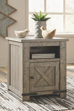Aldwin - Gray - Rectangular End Table by Signature Design by Ashley. Get your Aldwin - Gray - Rectangular End Table at American Furniture, Brooklyn Park MN furniture store. Farmhouse End Tables, Rustic End Tables, Diy End Tables, End Tables With Storage, Coffee Table With Storage, Rustic Farmhouse, Coffee Tables, Western Furniture, Living Furniture