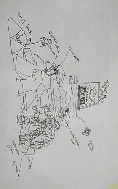 Sketch of the front of the Groom's Cake during the planning process