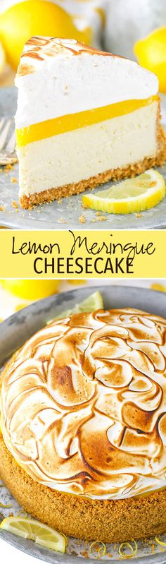 A graham cracker crust, creamy cheesecake, tart lemon topping and toasted meringue! A graham cracker crust, creamy cheesecake, tart lemon topping and toasted meringue! Lemon Merengue Pie, Lemon Meringue Cheesecake, Homemade Cheesecake, Easy Cheesecake Recipes, Dessert Recipes, Lemon Curd, Summer Cheesecake, Meringue Food, Cheesecake Crust