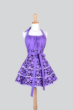 Flirty Chic Apron Black and Purple Polka Dots by CreativeChics