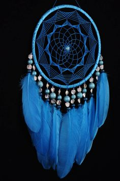 Blue Dreamcatcher Decor boho Dream Catcher azure Dreamcatcher