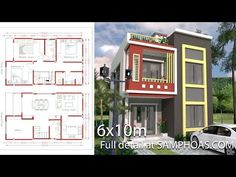 Small Home Design Plan with 3 Bedrooms - SamPhoas Plan 3d Home Design, Simple House Design, Home Design Plans, Modern House Design, Two Story House Design, Duplex House Design, Model House Plan, Small House Plans, Plantas Duplex