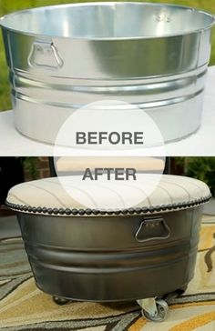 From ordinary galvanized tub to trendy rolling ottoman! Click to see the free tutorial.