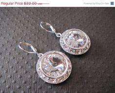 MEMORIAL DAY SALE Clear  Swarovski Crystal Drop Earings/ Bling Earings/ Bridesmaid Jewelry/ Wedding Jewelry/ Crystal Earings