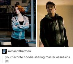 Aww<<Obviously different sizes, but still the same style hoodie. SHIELD issue? There was a sale? They both bought it at different times at different places and just so happen to have similar tastes?? I need to know.