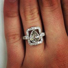 A unique pear-shaped diamond ring. @singlestonemissionstreet