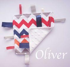 Baby Taggie Chevron - Oliver Taggie blanket with minky soft #megdashmade #babytaggie #chevrontaggie