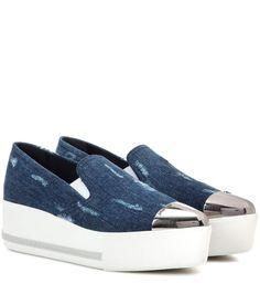 MIU MIU Denim slip-on platform sneakers. #miumiu #shoes #sneakers