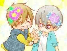 Our two birthday boys ... Drawn by めぐみ ... Free! - Iwatobi Swim Club, haruka nanase, haru nanase, haru, nanase, haruka, makoto tachibana, makoto, tachibana, free!, iwatobi