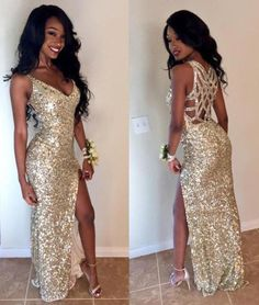 Sexy V-neck Floor-Length Sequins Mermaid Homecoming Dress with Legslit