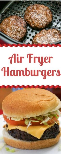 Air Fryer Hamburgers are a delicous easy recipe for Air Fryer Beginners and experts alike. I'm sharing all the tipes and tricks for making juicy hamburgers at home in your Air Fryer. Click the link for all the tips and tricks. Hamburgers On The Stove, How To Cook Hamburgers, Cooking Hamburgers, Burgers On Stove Top, Baked Hamburgers, Mini Burgers, Cooking Steak, Cooking Bacon, Turkey Burgers