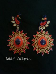 Quilled peacock earring
