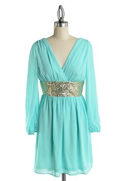 Roman Goddess Long Sleeve Sequin Dress - Mint + Gold
