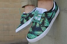 d7e6066a1ac78 Sea Foam Green   Gold Tropical Floral Nike SB Stefan Janoski - Custom Hand  Painted