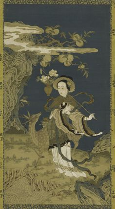 Immortal Magu with deer and peach tree, silk tapestry hanging scroll (mounted on panel) Ming or Qing dynasty, 1575-1725.