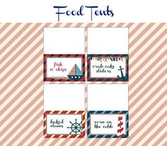 Nautical Birthday Party - FOOD LABELS - Printable Nautical Decorations - Printable Food Tents - DIY Birthday Party