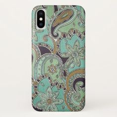 Pretty Turquoise Chic Retro Paisley Floral Pattern iPhone X Case - pattern sample design template diy cyo customize
