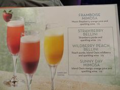 Royal Caribbean Drink Package – cruise with gambee Strawberry Bellini, Peach Bellini, Strawberry Puree, Drinks Alcohol Recipes, Alcoholic Drinks, Caribbean Drinks, Western Caribbean Cruise, Peach Puree, Beverage Packaging
