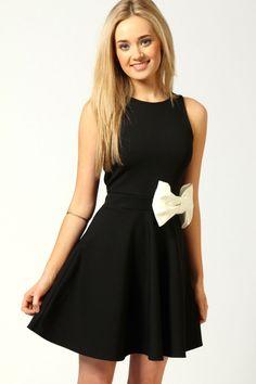MEEP! WAaaaant!!! Penelope Skater Dress With Bow Detail