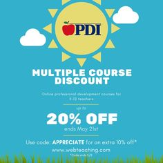"HAPPY MAY! You know what that means... it is time for PDI's semi-annual MULTIPLE COURSE DISCOUNT SALE! The more you spend, the more you save! Additionally, in celebration of Teachers Appreciation Week, we are offering teachers an EXTRA 10% off orders with code ""appreciate"" which will end on 5/8. Now is the perfect time to complete your PD units (from the comfort of your own 🏠 👩🏻‍💻) Please visit our website for details on pricing and a full list of our course offerings. LINK IN BIO! 🍎 🍎… Online Education Courses, Baccalaureate, Happy May, Course Offering, Teacher Appreciation Week, Professional Development, Meant To Be, Celebration, University"
