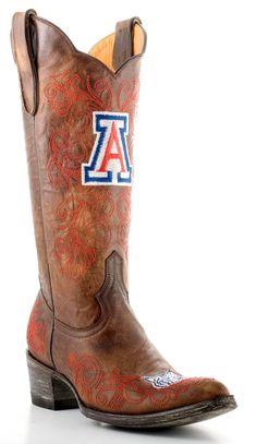 Gameday U Of Arizona Ladies Leather Boots ARZ-L013-1 - Brass