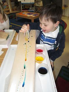 Exploring water can be fascinating. We started our exploration with plain water and eye droppers.   The trays were lined with wax paper.   ...
